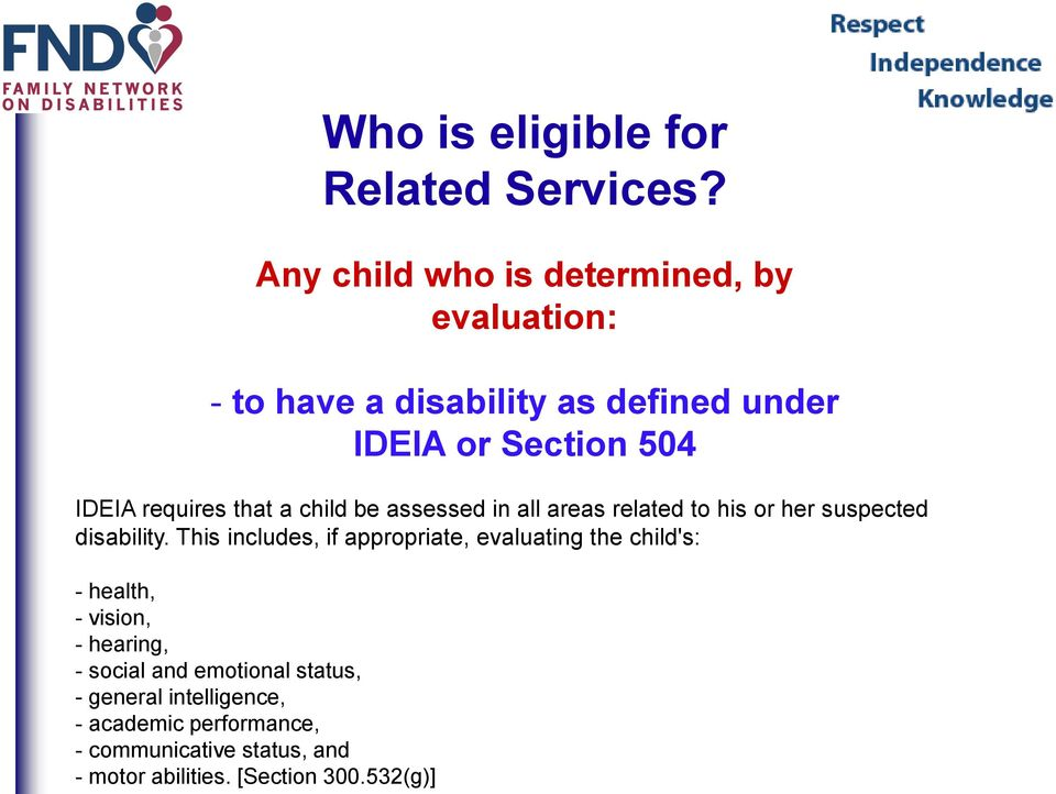 requires that a child be assessed in all areas related to his or her suspected disability.