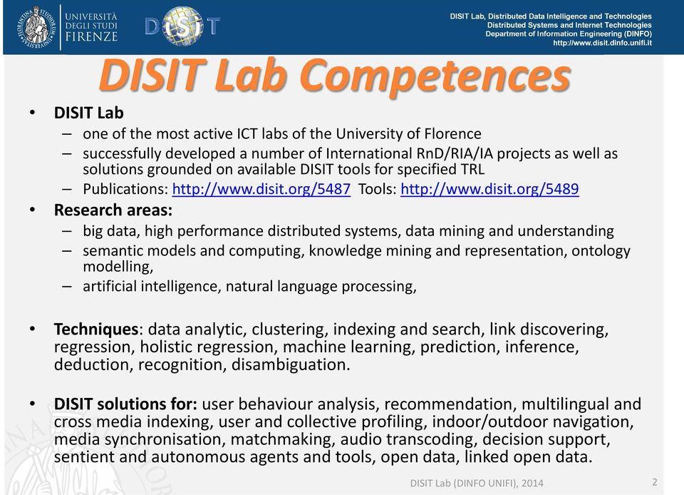 org/5487 Tools: http://www.disit.