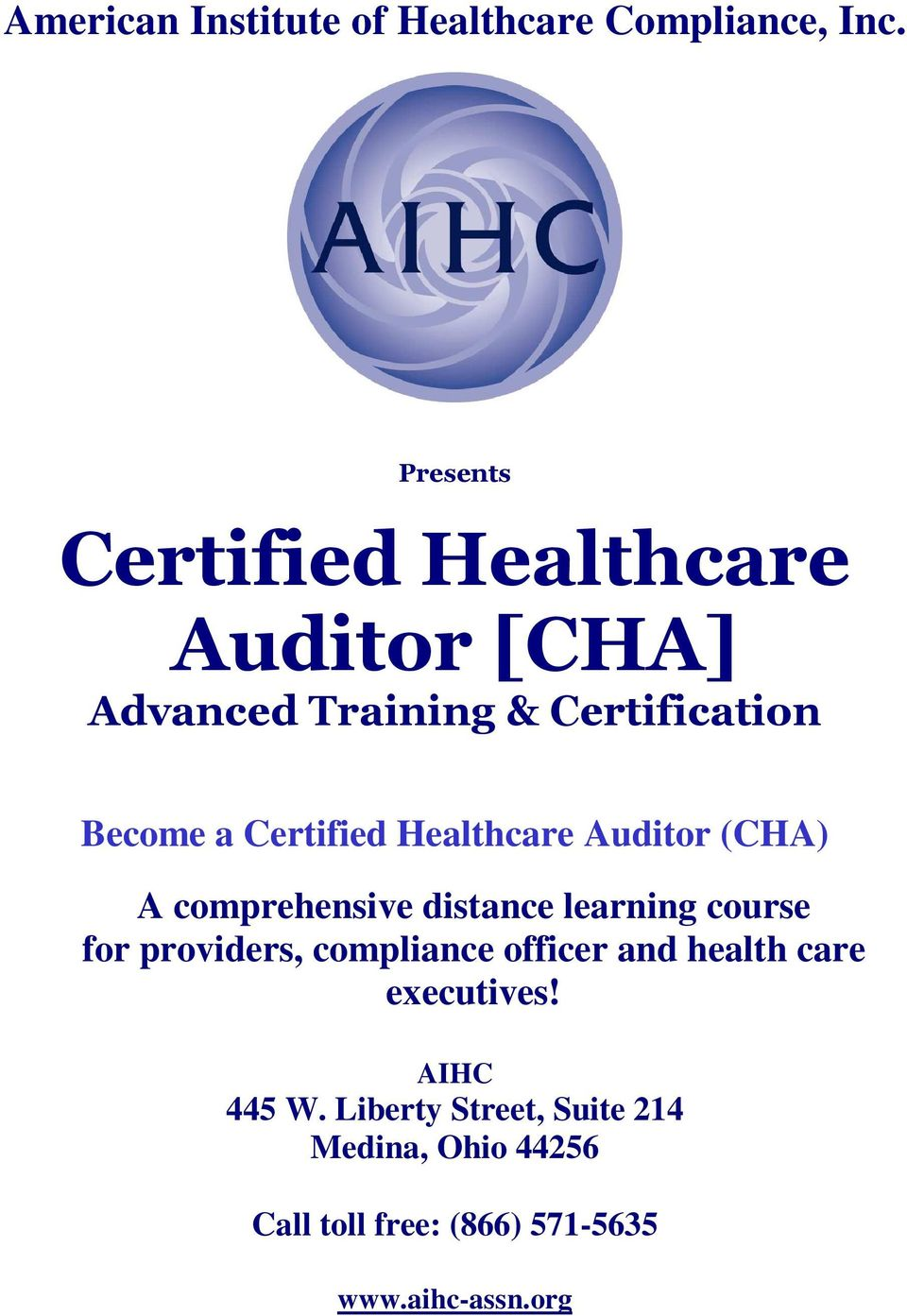 course for providers, compliance officer and health care executives!