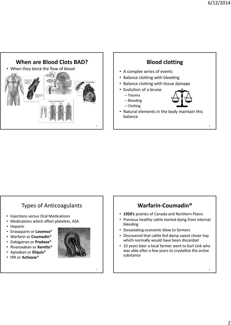 Clotting Natural elements in the body maintain this balance 5 6 Types of Anticoagulants Injections versus Oral Medications Medications which affect platelets, ASA Heparin Enoxaparin or Lovenox