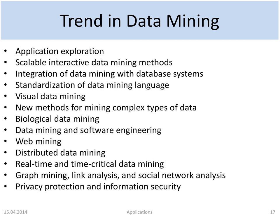 Biological data mining Data mining and software engineering Web mining Distributed data mining Real-time and time-critical