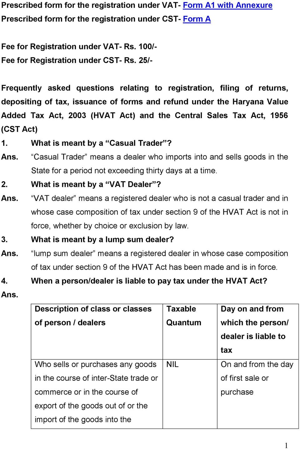 25/- Frequently asked questions relating to registration, filing of returns, depositing of tax, issuance of forms and refund under the Haryana Value Added Tax Act, 2003 (HVAT Act) and the Central
