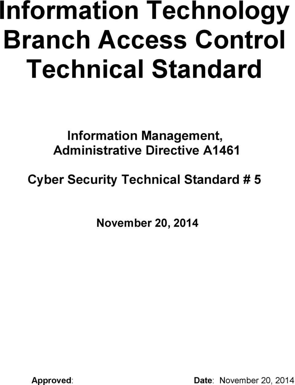 Administrative Directive A1461 Cyber Security