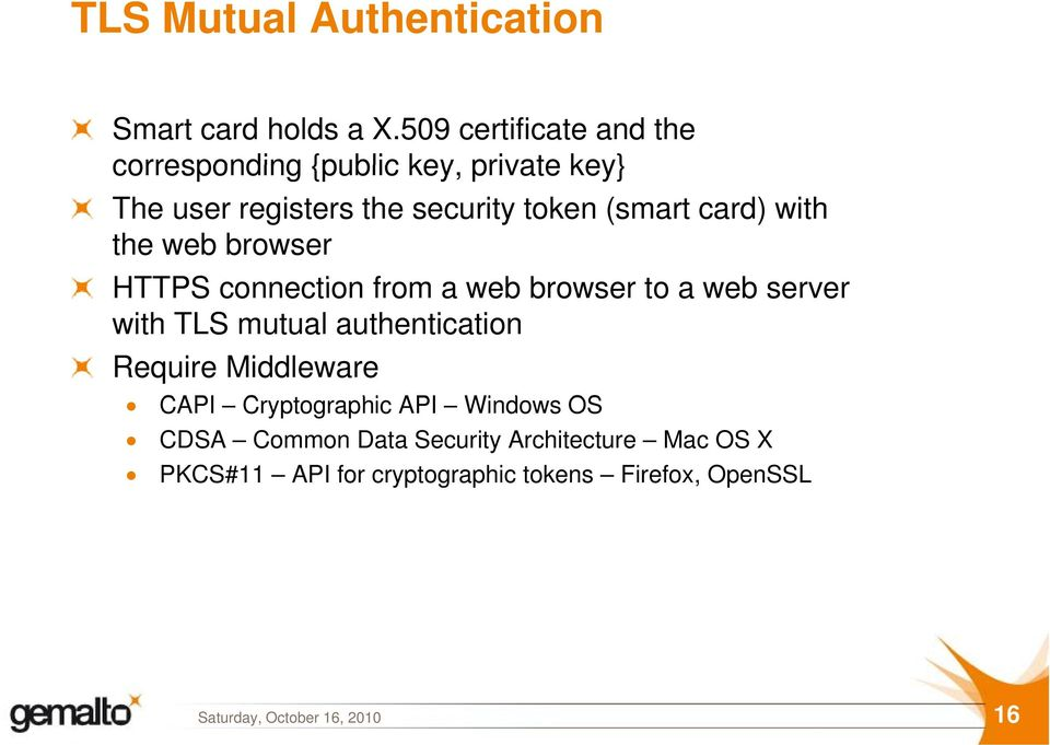 (smart card) with the web browser HTTPS connection from a web browser to a web server with TLS mutual