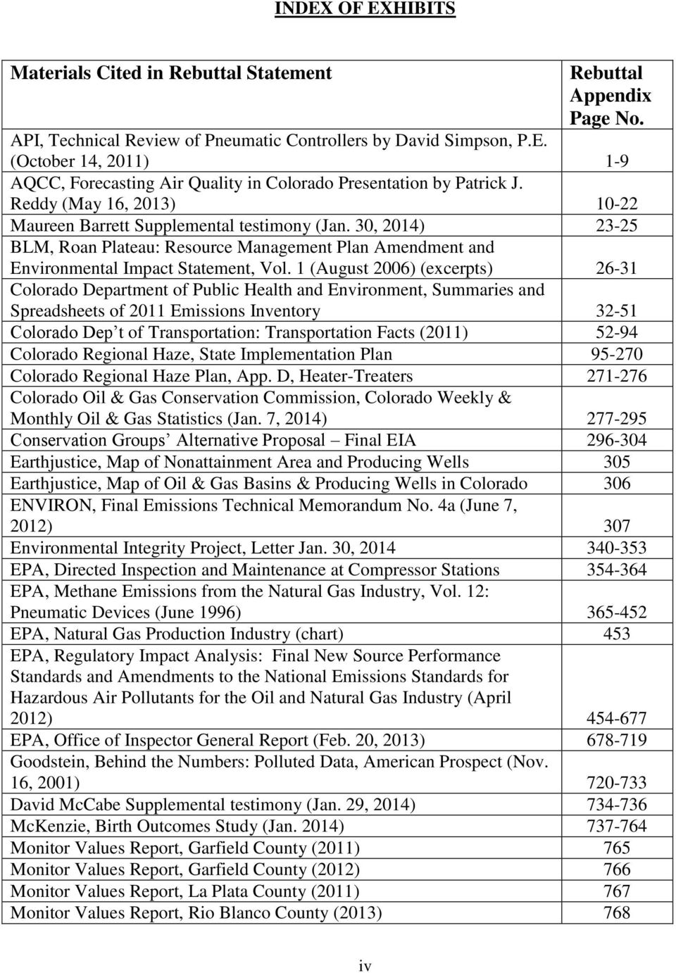 1 (August 2006) (excerpts) 26-31 Colorado Department of Public Health and Environment, Summaries and Spreadsheets of 2011 Emissions Inventory 32-51 Colorado Dep t of Transportation: Transportation