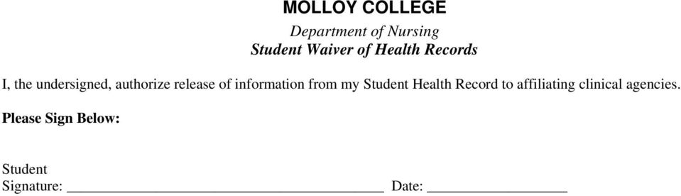information from my Student Health Record to