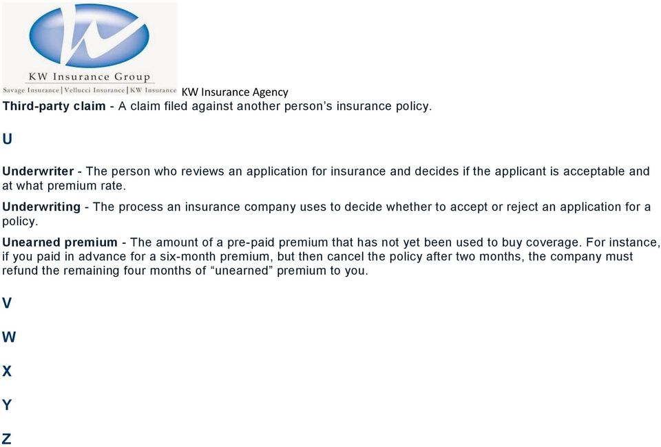 Underwriting - The process an insurance company uses to decide whether to accept or reject an application for a policy.