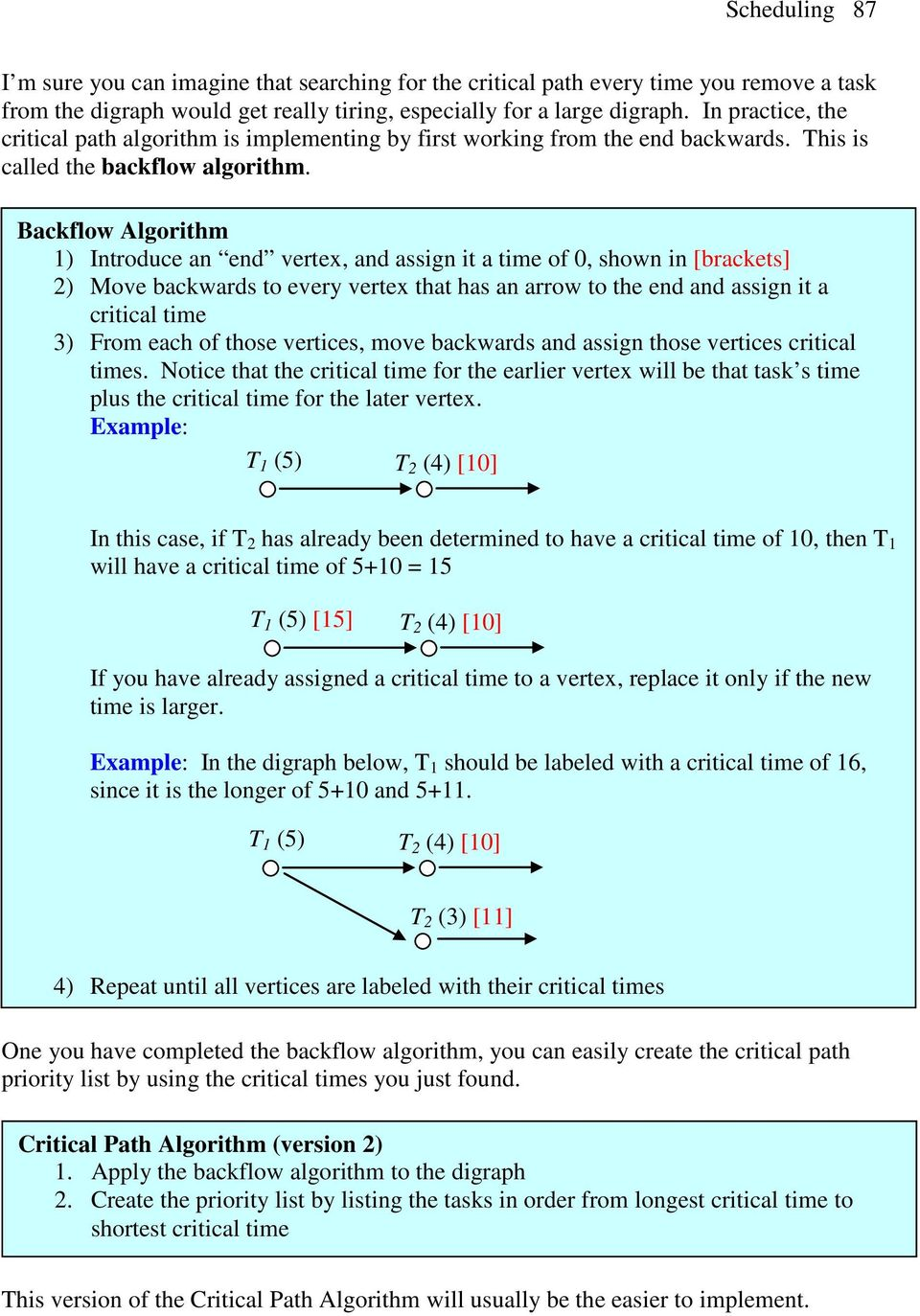 Backflow Algorithm 1) Introduce an end vertex, and assign it a time of 0, shown in [brackets] 2) Move backwards to every vertex that has an arrow to the end and assign it a critical time 3) From each