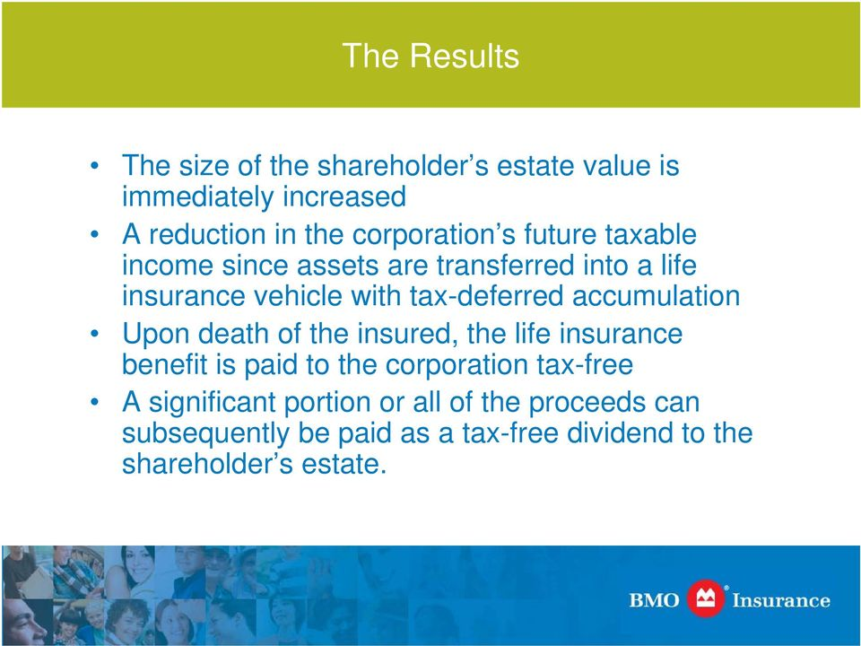 tax-deferred accumulation Upon death of the insured, the life insurance benefit is paid to the corporation