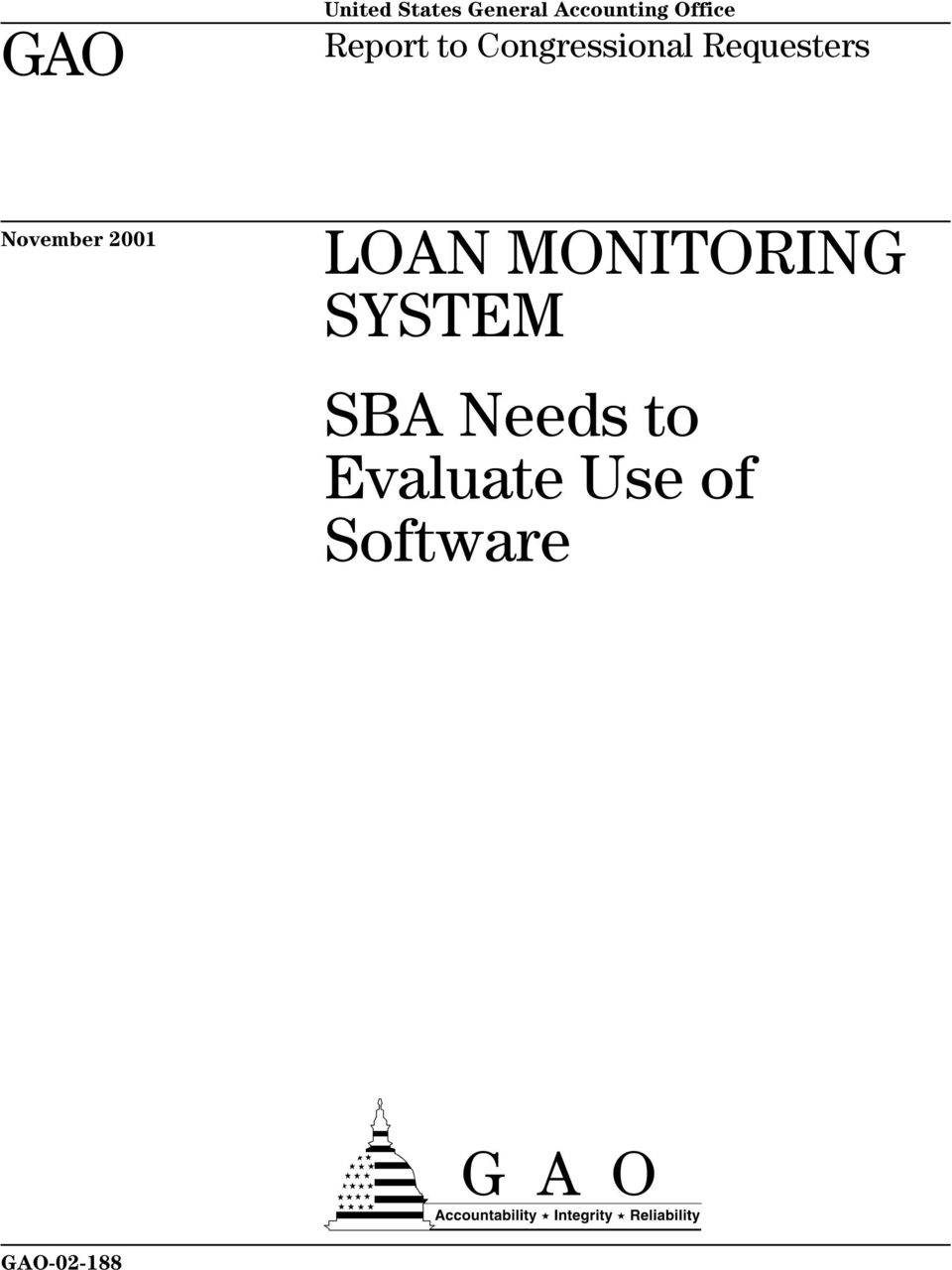 November 2001 LOAN MONITORING SYSTEM SBA