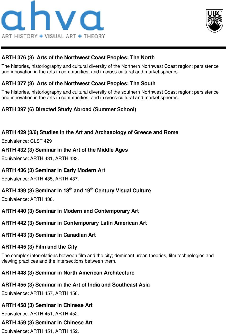ARTH 377 (3) Arts of the Northwest Coast Peoples: The South The histories, historiography and cultural diversity of the southern Northwest Coast region; persistence and innovation in the arts in