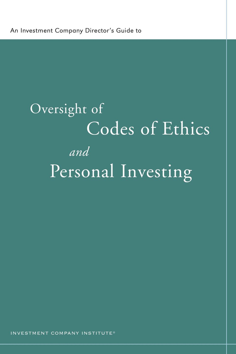 of Ethics and Personal