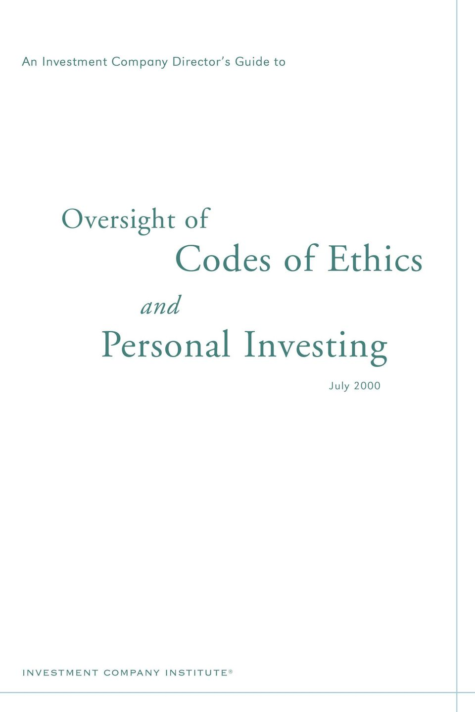 Ethics and Personal Investing