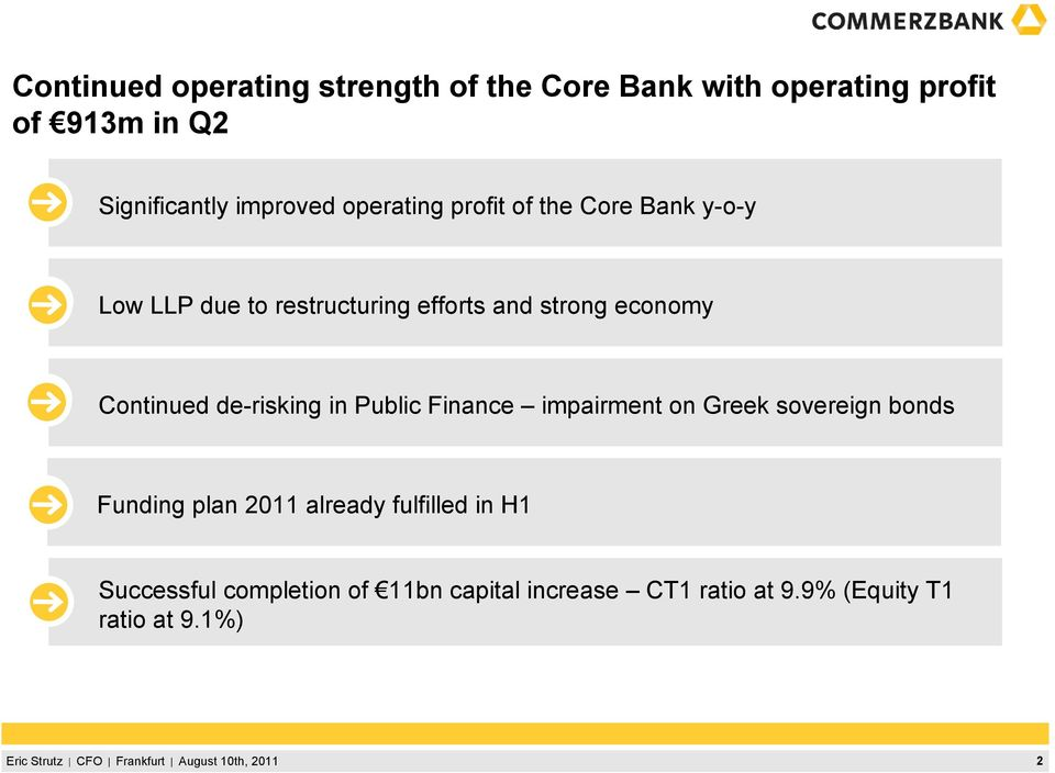 economy 3 Continued de-risking in Public Finance impairment on Greek sovereign bonds 4 Funding plan