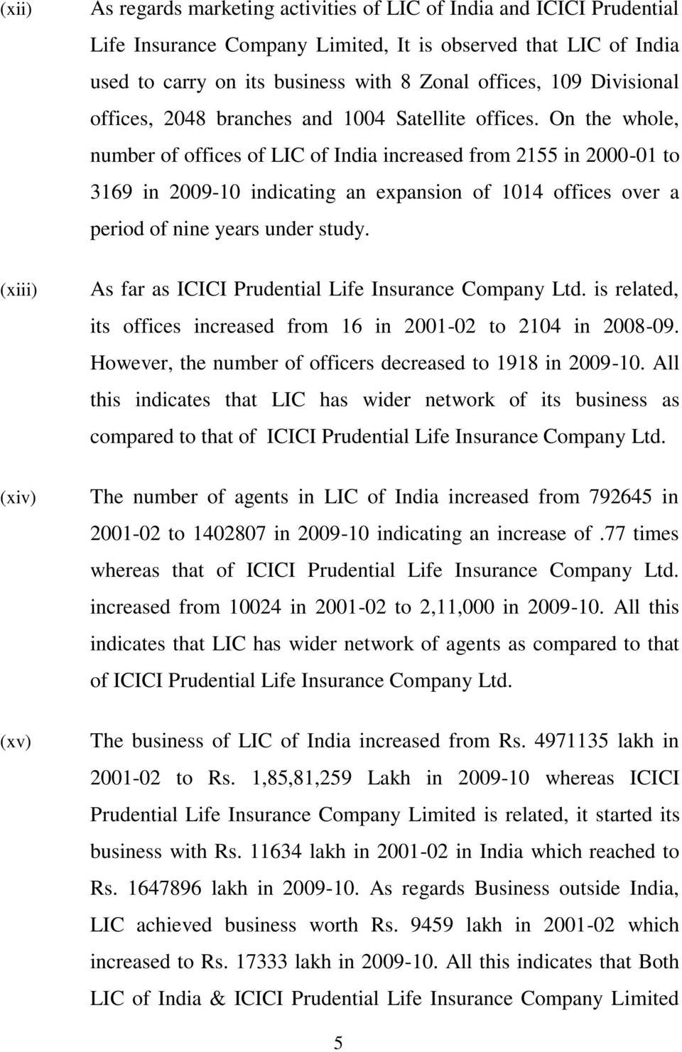 On the whole, number of offices of LIC of India increased from 2155 in 2000-01 to 3169 in 2009-10 indicating an expansion of 1014 offices over a period of nine years under study.