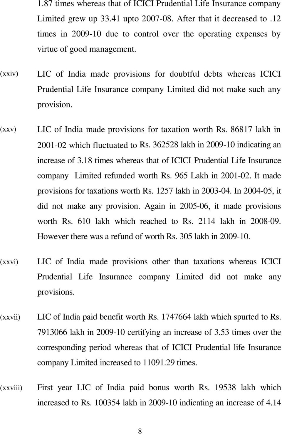 (xxiv) LIC of India made provisions for doubtful debts whereas ICICI Prudential Life Insurance company Limited did not make such any provision.