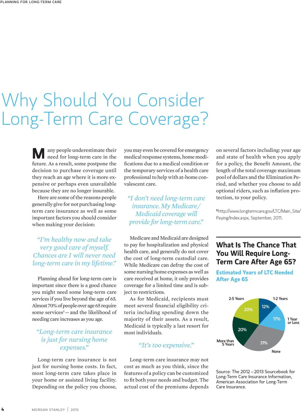 Here are some of the reasons people generally give for not purchasing longterm care insurance as well as some important factors you should consider when making your decision: I m healthy now and take