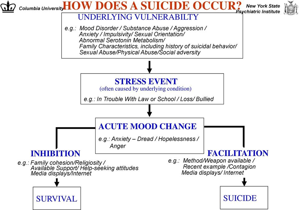 suicidal behavior/ Sexual Abuse/Physical Abuse/Social adversity STRESS EVENT (often caused by underlying condition) e.g.: In Trouble With Law or School / Loss/ Bullied INHIBITION e.