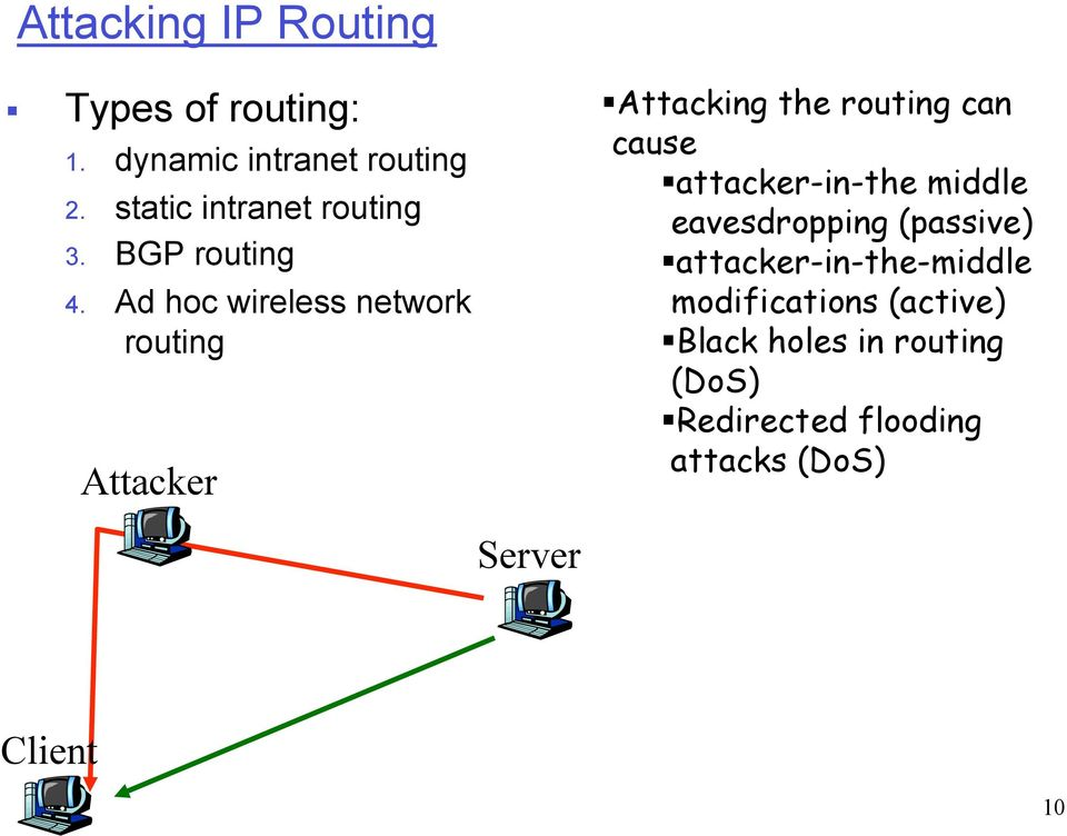 Ad hoc wireless network routing Attacker Attacking the routing can cause attacker-in-the