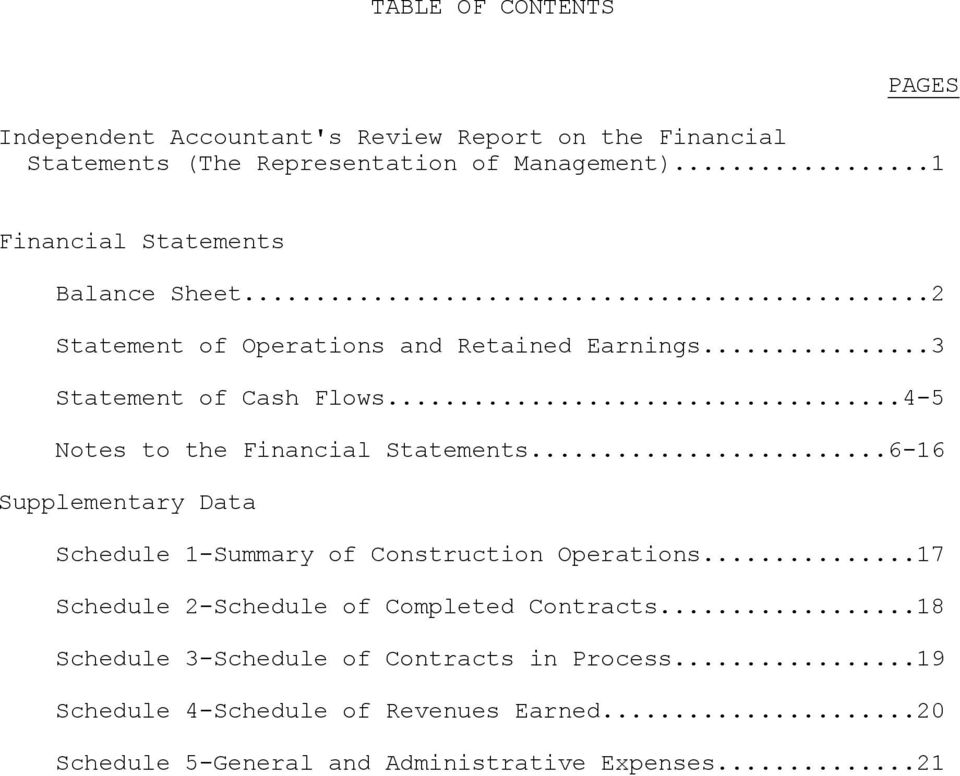 ..4-5 Notes to the Financial Statements...6-16 Supplementary Data Schedule 1-Summary of Construction Operations.