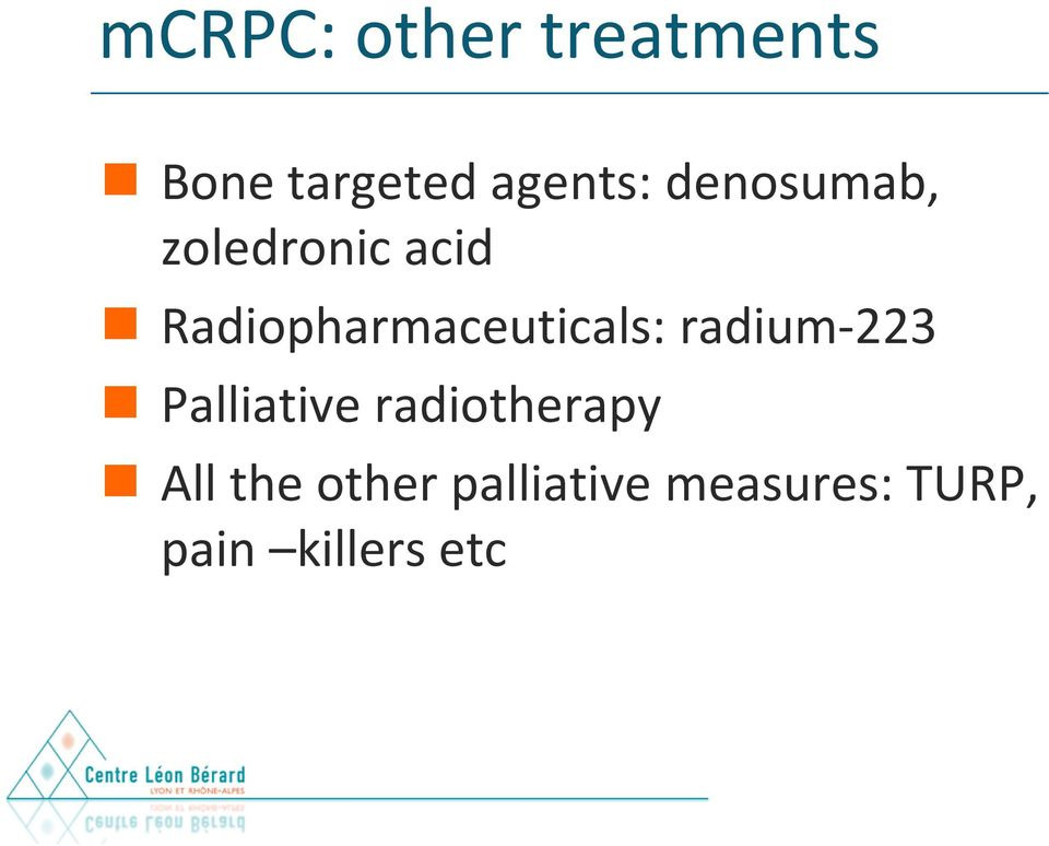 Radiopharmaceuticals: radium-223 Palliative
