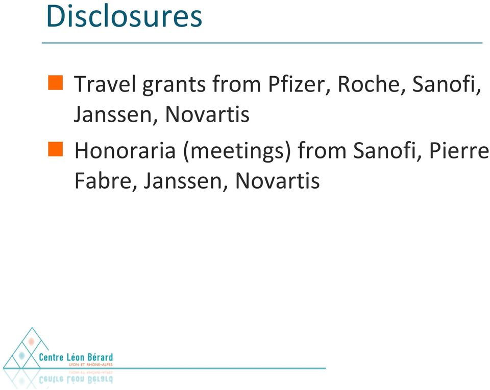 Novartis Honoraria (meetings) from