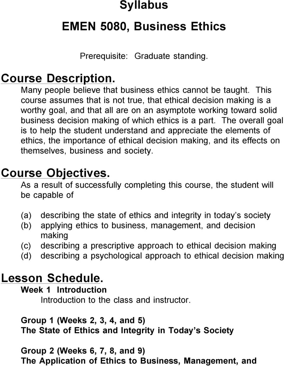 Syllabus Emen 5080 Business Ethics Pdf