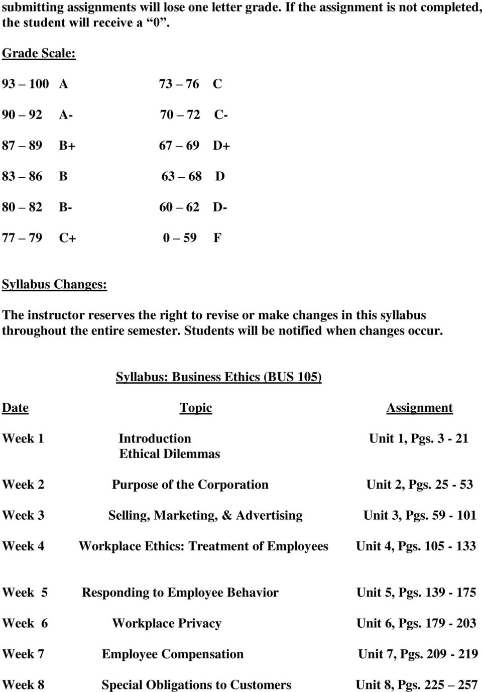 this syllabus throughout the entire semester. Students will be notified when changes occur. Syllabus: Business Ethics (BUS 105) Date Topic Assignment Week 1 Introduction Unit 1, Pgs.