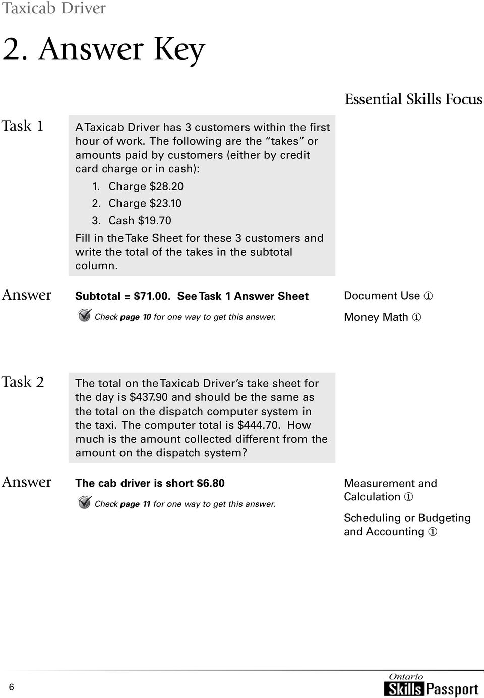 See Task 1 Sheet Check page 10 for one way to get this answer. Essential Skills Focus Document Use 1 Money Math 1 Task 2 The total on the Taxicab Driver s take sheet for the day is $437.