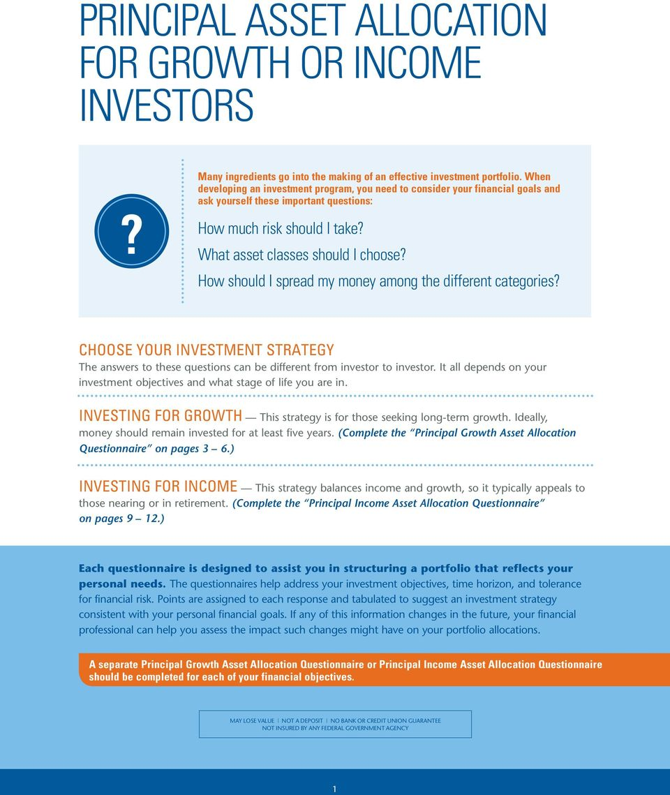 How should I spread my money among the different categories? CHOOSE YOUR INVESTMENT STRATEGY The answers to these questions can be different from investor to investor.