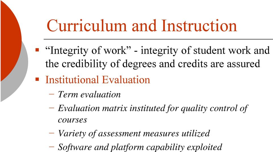 Term evaluation Evaluation matrix instituted for quality control of courses