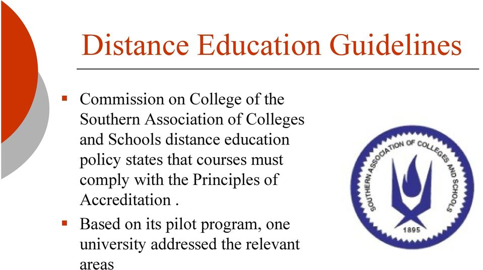 states that courses must comply with the Principles of