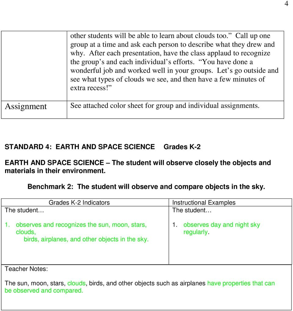 Let s go outside and see what types of clouds we see, and then have a few minutes of extra recess! Assignment See attached color sheet for group and individual assignments.