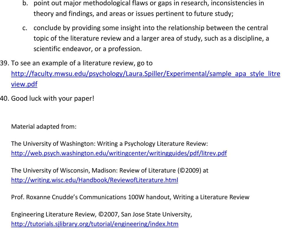 psychology literature review topics