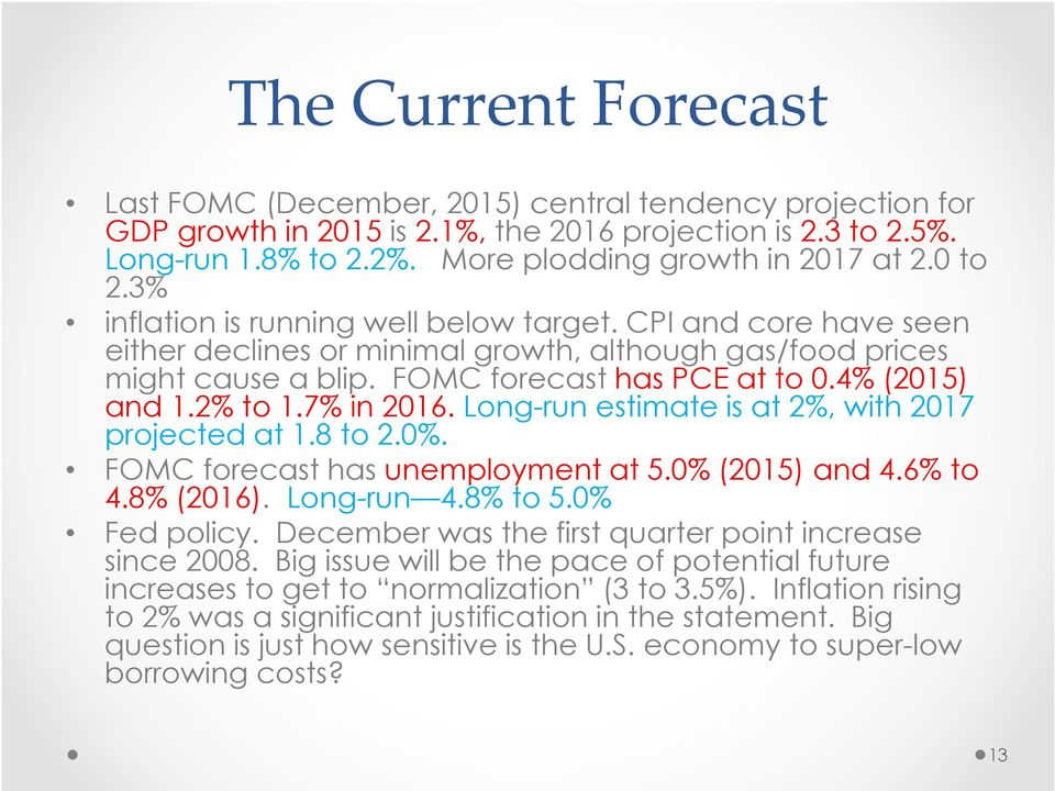 FOMC forecast has PCE at to 0.4% (2015) and 1.2% to 1.7% in 2016. Long-run estimate is at 2%, with 2017 projected at 1.8 to 2.0%. FOMC forecast has unemployment at 5.0% (2015) and 4.6% to 4.8% (2016).
