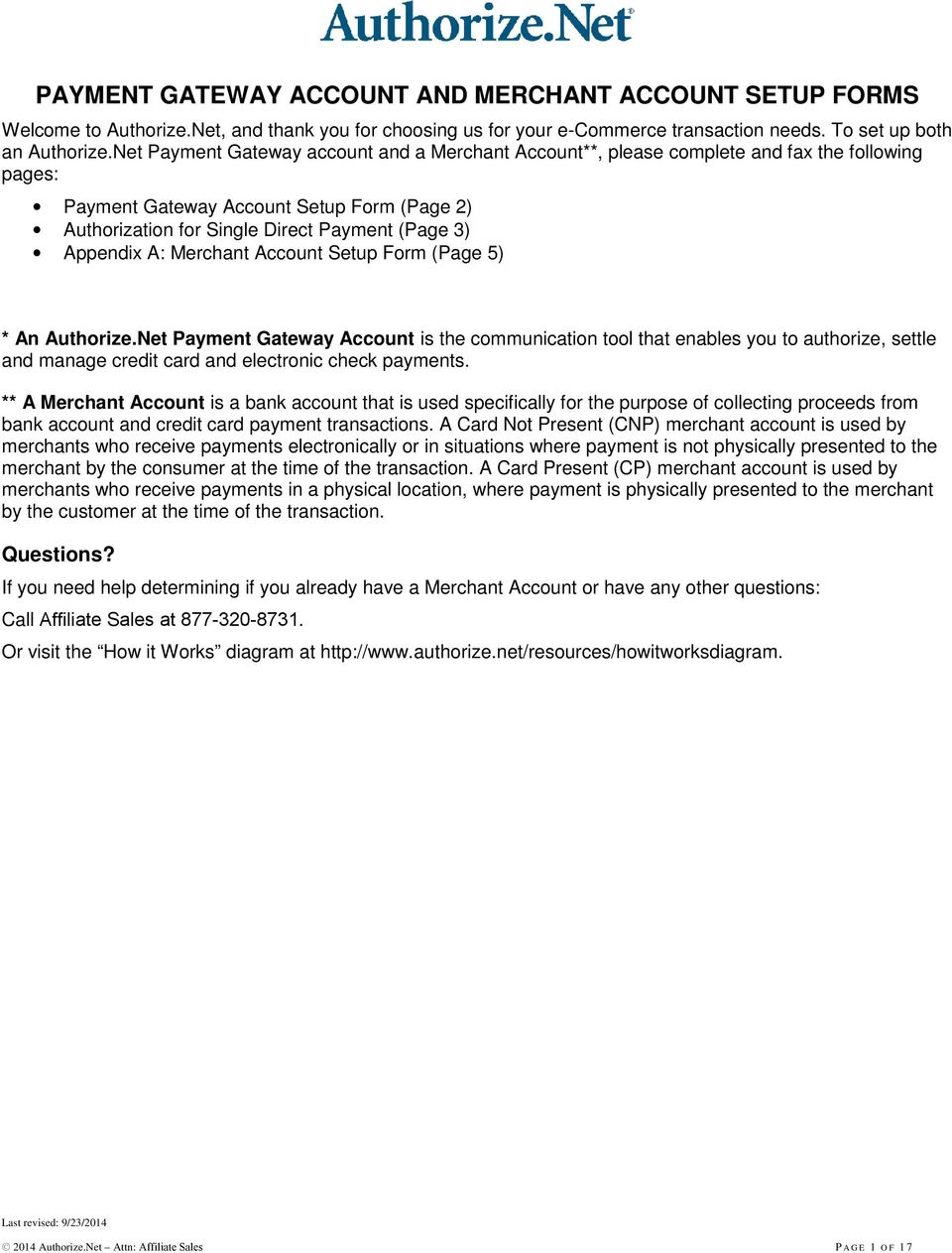 Appendix A: Merchant Account Setup Form (Page 5) * An Authorize.