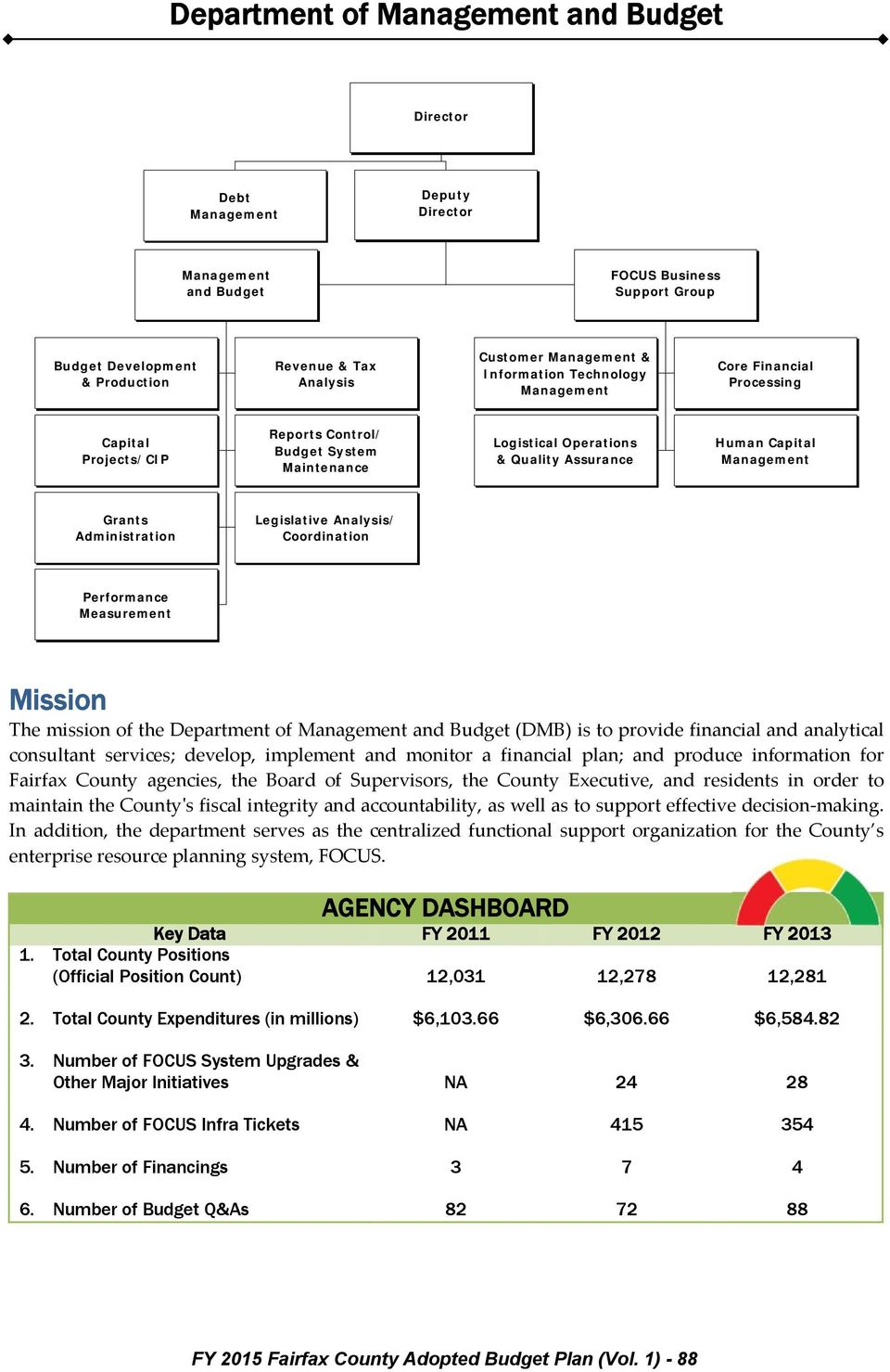 Mission The mission of the Department of and Budget (DMB) is to provide financial and analytical consultant services; develop, implement and monitor a financial plan; and produce information for