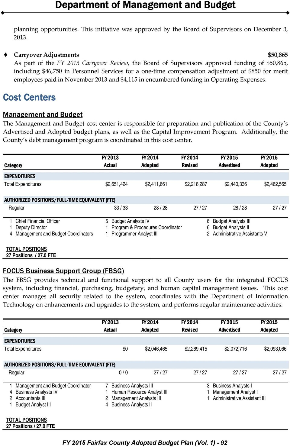 $850 for merit employees paid in November 2013 and $4,115 in encumbered funding in Operating Expenses.