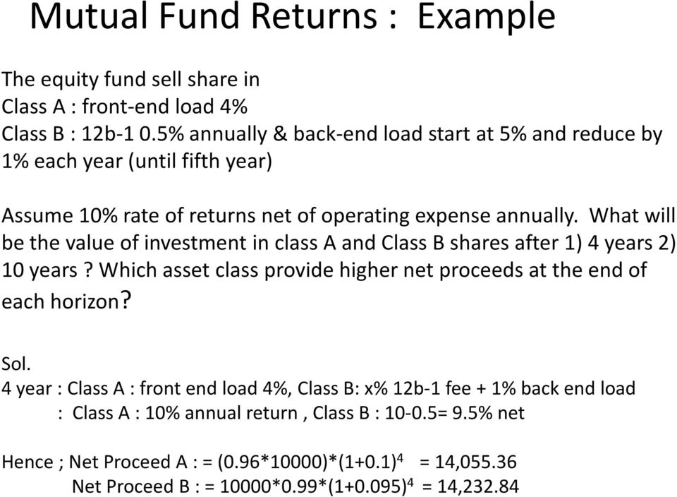 What will be the value of investment in class A and Class B shares after 1) 4 years 2) 10 years? Which asset class provide higher net proceeds at the end of each horizon?
