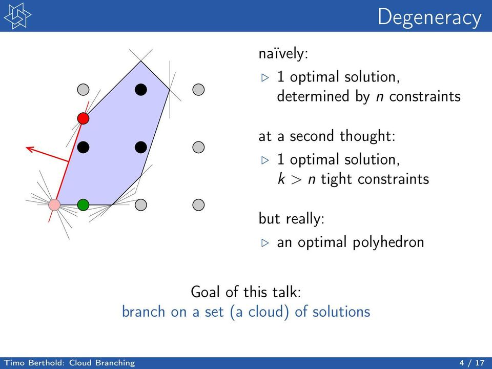 constraints but really: an optimal polyhedron Goal of this talk: