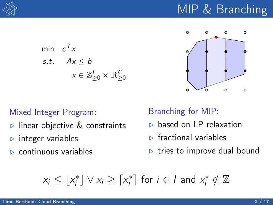 constraints integer variables continuous variables Branching for MIP: based