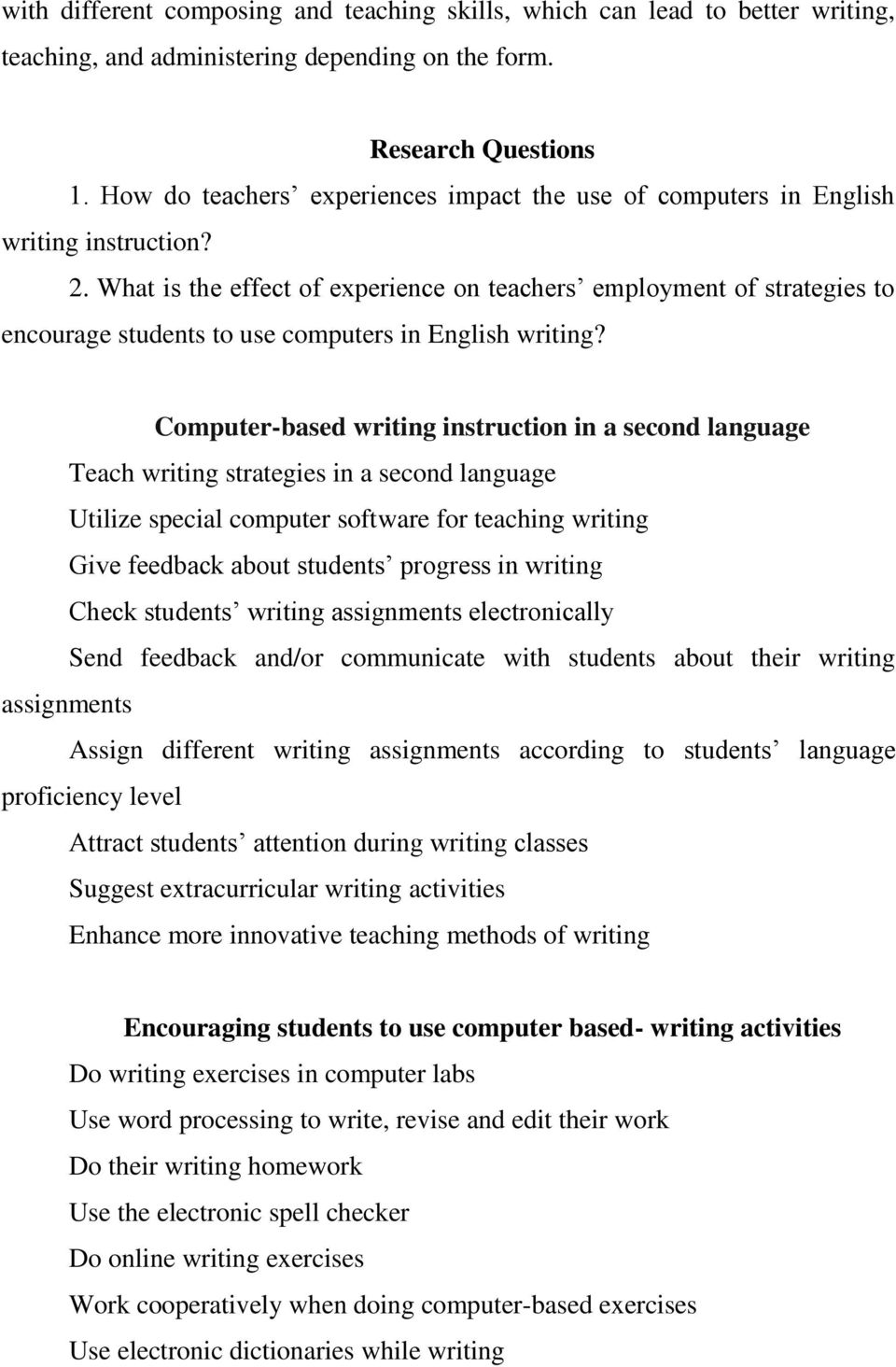 What is the effect of experience on teachers employment of strategies to encourage students to use computers in English writing?