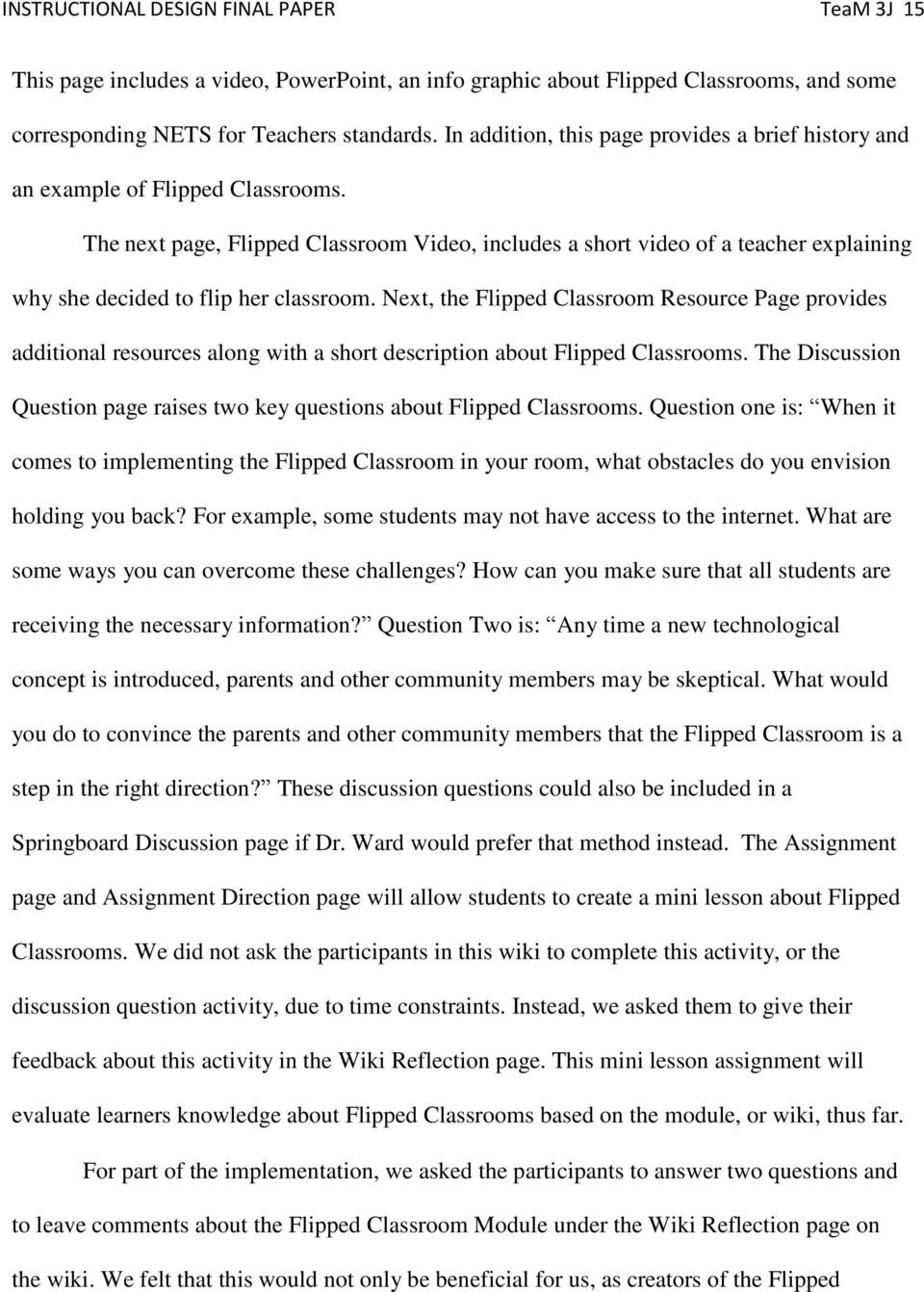 The next page, Flipped Classroom Video, includes a short video of a teacher explaining why she decided to flip her classroom.