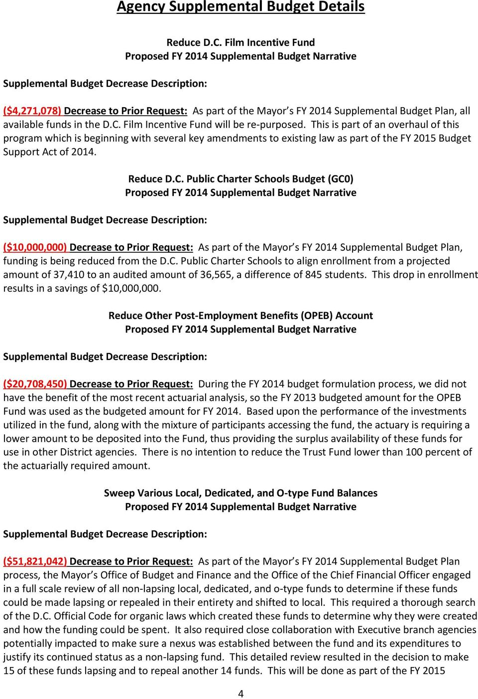Public Charter Schools Budget (GC0) ($10,000,000) Decrease to Prior Request: As part of the Mayor s FY 2014 Supplemental Budget Plan, funding is being reduced from the D.C. Public Charter Schools to align enrollment from a projected amount of 37,410 to an audited amount of 36,565, a difference of 845 students.