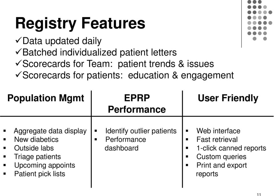 data display New diabetics Outside labs Triage patients Upcoming appoints Patient pick lists Identify outlier