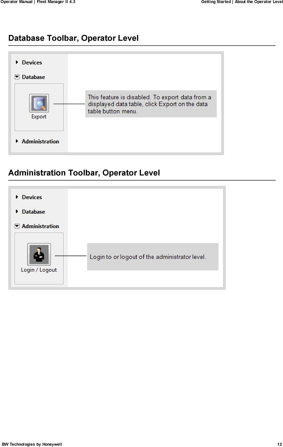 Level Administration Toolbar,