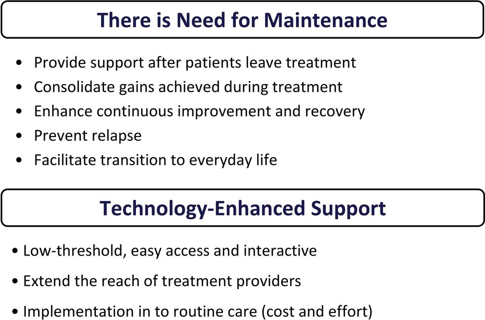 Facilitate transition to everyday life Technology Enhanced Support Low threshold, easy access