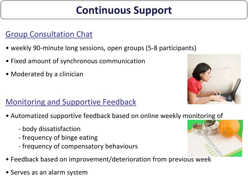 supportive feedback based on online weekly monitoring of body dissatisfaction frequency of binge eating