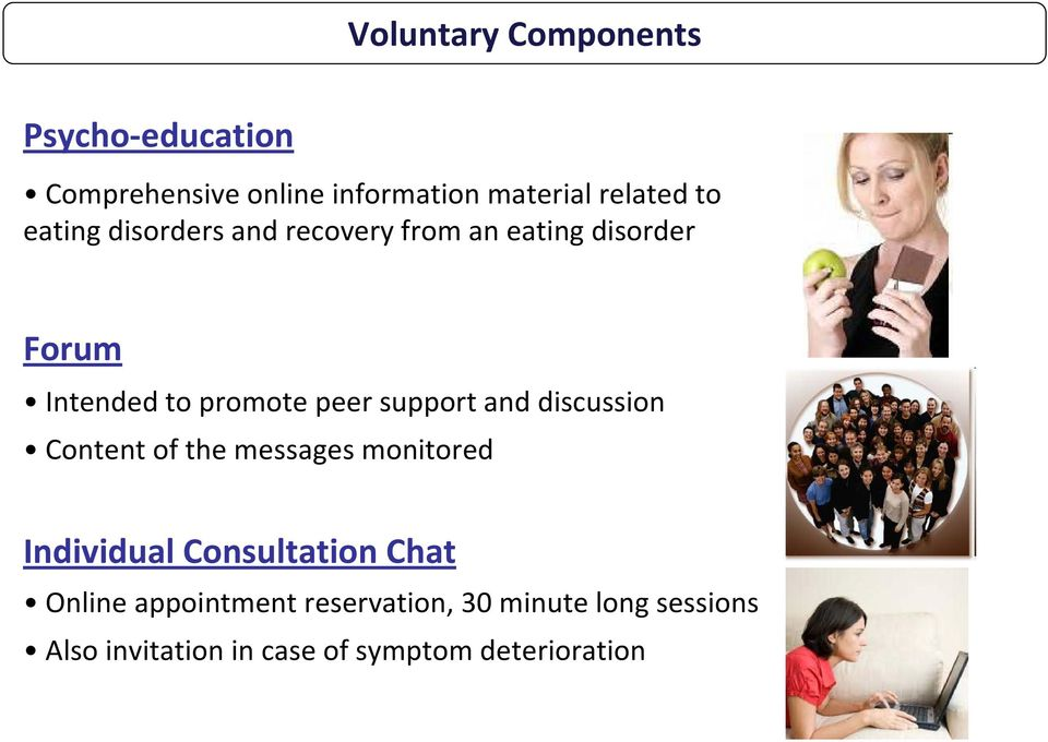 support and discussion Content of the messages monitored Individual Consultation Chat