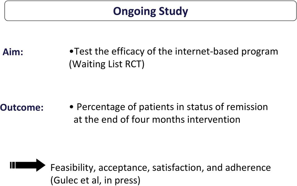 status of remission at the end of four months intervention